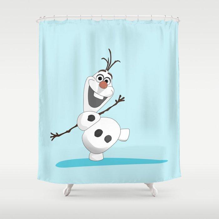 Olaf Frozen Cartoon Snowmen Shower Curtain