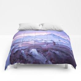Freezing Mountain Lake Landscape Comforters