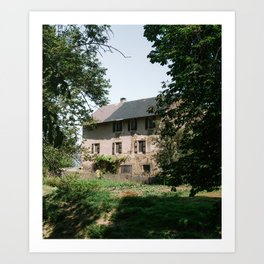 Vintage rustic house in France, South Europe | Brick farm surrounded by nature - travel photograph Art Print