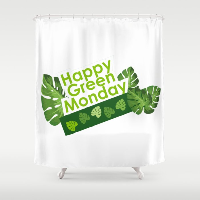 Happy leaves deco - Green Monday Shower Curtain
