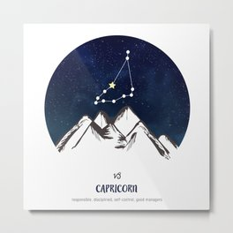 Astrology Capricorn Zodiac Horoscope Constellation Star Sign Watercolor Poster Wall Art Metal Print