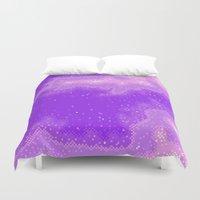 8bit Duvet Covers featuring Purple Nebula (8bit) by Sarajea