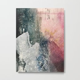 Reckless [6]: a colorful, abstract mixed-media piece in pinks, blues, white and gold Metal Print