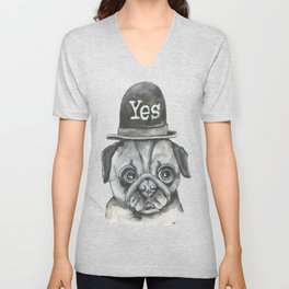No Dog with yes hat Unisex V-Neck