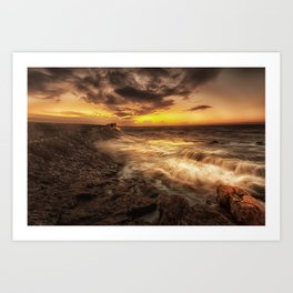 Porthcawl Sunrise with an oil painting effect on the sea Art Print