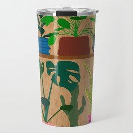 Plants on the Shelf in Warm Wood Travel Mug