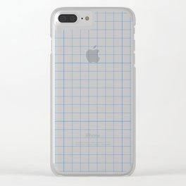 Geometric Blue Squares Pattern // Math Sheet Clear iPhone Case