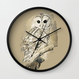 Sepia Owl Wall Clock