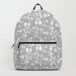 Silver Gray Floral Pattern Backpack