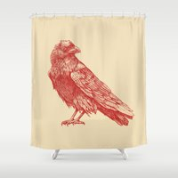 raven Shower Curtains featuring Red Raven  by Terry Fan