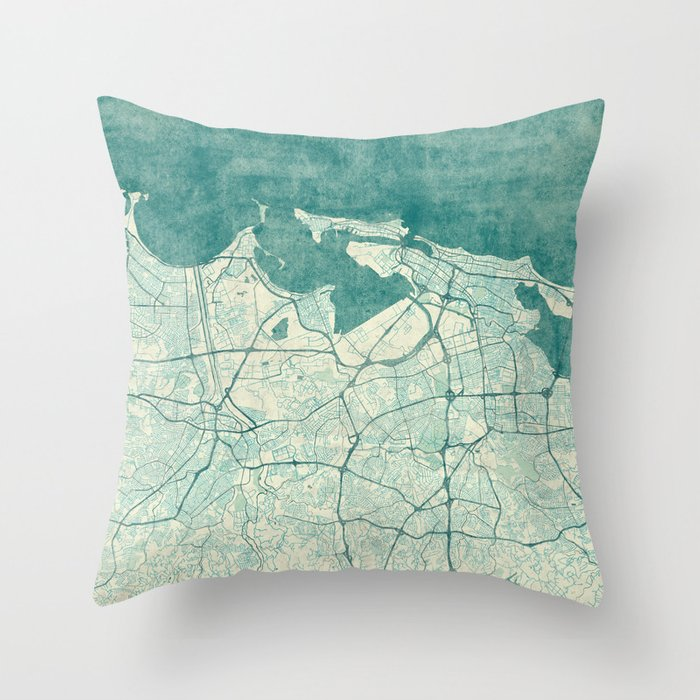 San Juan Map Blue Vintage Throw Pillow