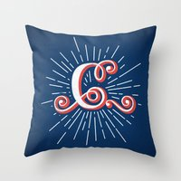 """randy c Throw Pillows featuring """"C"""" by Madrid is Fun"""