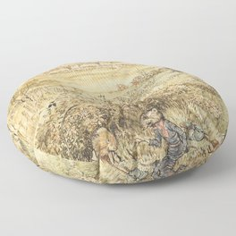 Ratty and a weasel in a field Floor Pillow