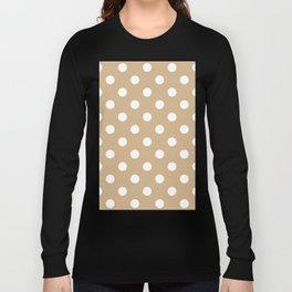 Polka Dots - White on Tan Brown Long Sleeve T-shirt