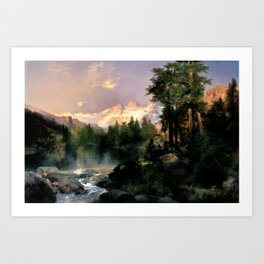 The Three Tetons, Grand Teton Mountains, Jackson Hole, Wyoming by Thomas Moran Art Print