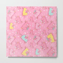 Pink unicorn pattern Metal Print