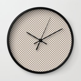 Champagne Beige and White Polka Dots Wall Clock