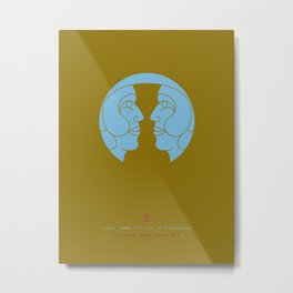 Gemini Zodiac / Twins Star Sign Poster Metal Print