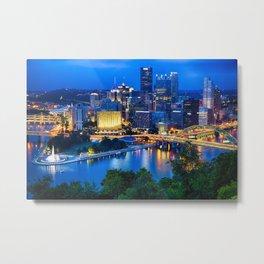 Pittsburgh Downtown Night Scenic View Metal Print