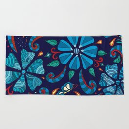 Floral Red and Blue Beach Towel