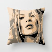 kate moss Throw Pillows featuring KATE MOSS by Christophe Chiozzi