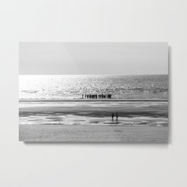 Beach black white 5 Metal Print