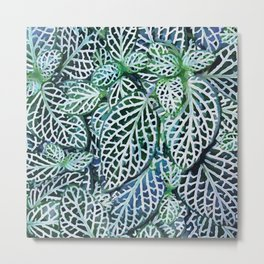 Tropical Leaves Fittonia Nerve Plant #watercolor #decor #society6 #pattern Metal Print