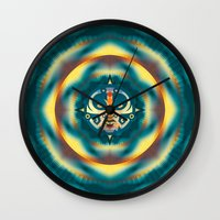 calendar Wall Clocks featuring NEW MAYAN CALENDAR by Alberto Farca