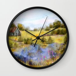 Field of Lake and Flowers Wall Clock