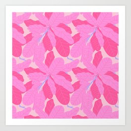 Tropicana Banana Leaves in Preppy Pink + Purple Art Print