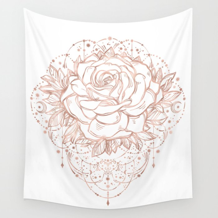 Mandala Lunar Rose Gold Wall Tapestry