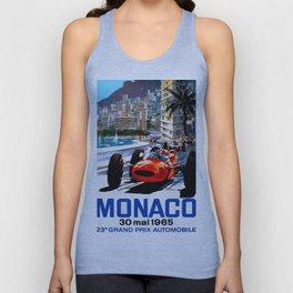 MONACO : Vintage Grand Prix Auto Racing Print Unisex Tank Top