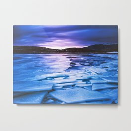 Lake Effect // Frozen Ice Water Sunset Mountain Landscape Photography Pink Purple Blue Clouds Metal Print