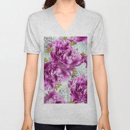 Summer bouquet of purple and white flowers - #Society6 #buyart Unisex V-Neck