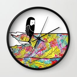 Surf Art Rainbow Waves Wall Clock