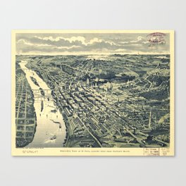 Vintage Map of St. Paul MN (1893) Canvas Print