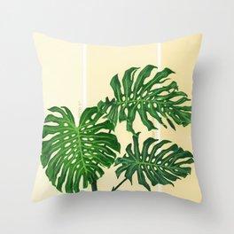 Monstera on Yellows Throw Pillow