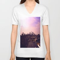 cleveland V-neck T-shirts featuring Cleveland Skyline by Toni Tylicki
