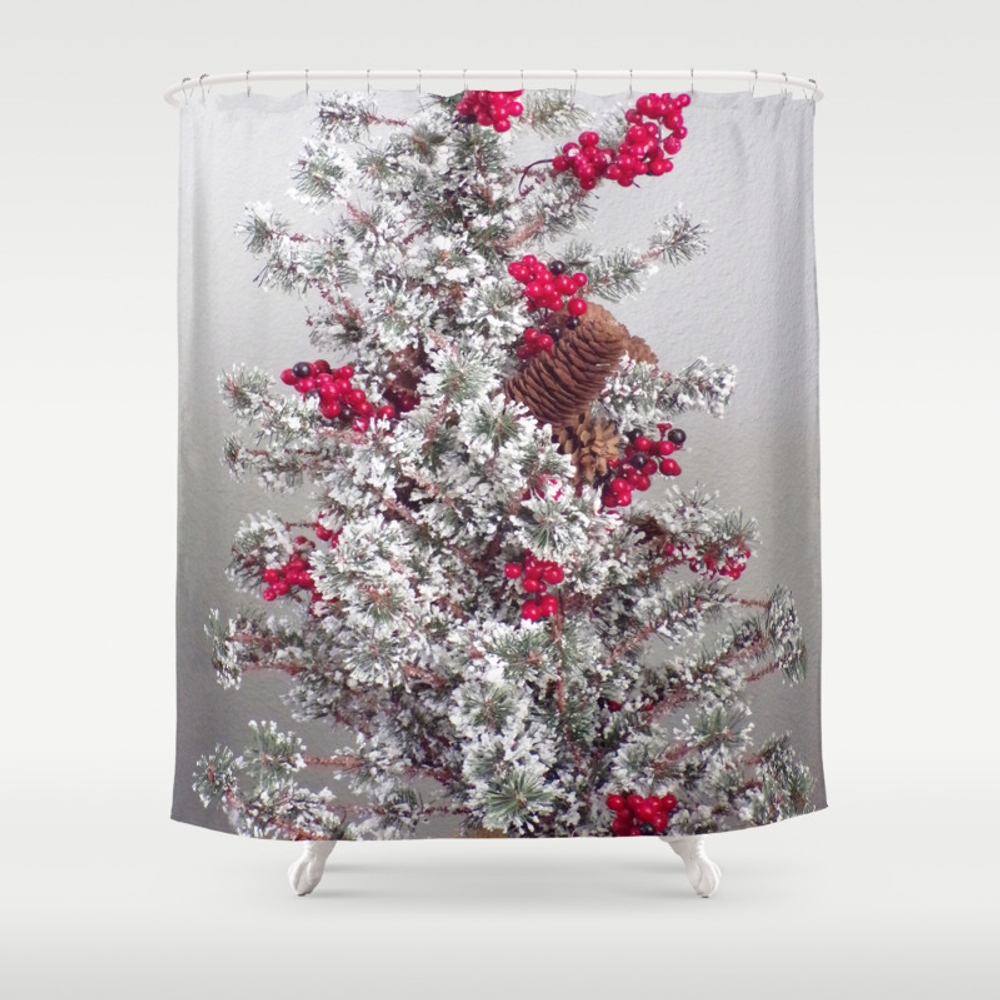 Beautiful Holiday Tree, Frosted Tree With Red Berr… Shower Curtain by Fas925 CTN8941304