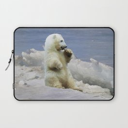 Cute Polar Bear Cub & Arctic Ice Laptop Sleeve