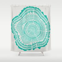 tree rings Shower Curtains featuring Turquoise Tree Rings by Cat Coquillette