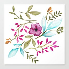 Watercolor Botanical Floral Leaves by Ms. Parasol Canvas Print