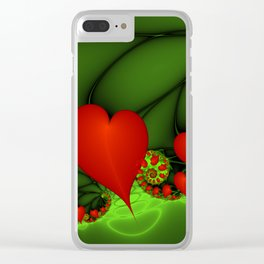 Dancing Red Hearts Fractal Art Clear iPhone Case