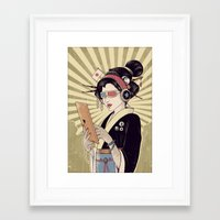 geisha Framed Art Prints featuring Geisha by Azrhon