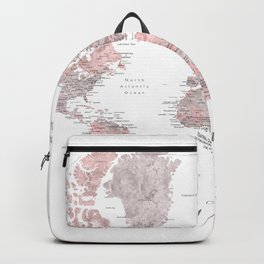 Wanderlust - Dusty pink and grey watercolor world map, detailed Backpack