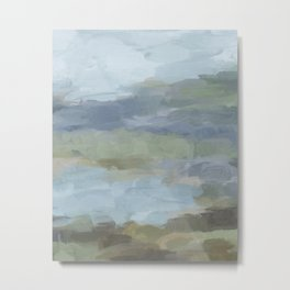 Diptych II - Sky Gray Blue Sage Green Abstract Wall Art, Painting Art, Lake Nature Print Portrait Metal Print