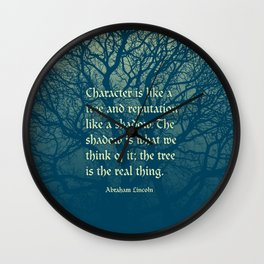 Tree of Character VINTAGE BLUE / Deep thoughts by Abe Lincoln Wall Clock