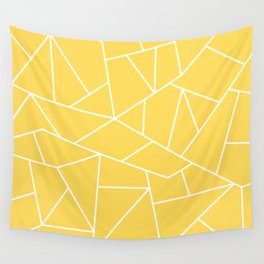 White Mosaic Lines On Mustard Yellow Wall Tapestry