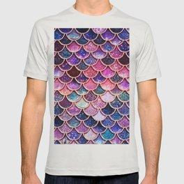 Pink & Purple Trendy Glitter Mermaid Scales T-shirt