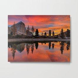 Mountain Lakeside Sunset Metal Print